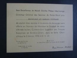 CAMBODGE  Phnom-Penh Son Excellence  Le Néak Oknha Prâso Sâurivongs En L'Honneur Générale  D'Armée Leclerc Commandant - Faire-part