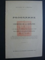 Phnom-Penh Cambodge, PROGRAMME CERMONIES DE LA CREMATION REINE MERE DE S.M. SISOWATHMONIVONG - Programmes
