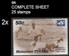 CV:€17.80 BULK 2 X TUVALU-Nanumea 1986 World Cup Mexico Final Uruguay Argentina 1930 1930 50c COMPLETE SHEET:25 Stamps - Tuvalu