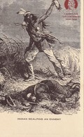 Indian Scalping An Enemy Champlain Ter-Centenary 1608 - 1908 Drawing By Gauchard - Native Americans