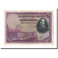 Billet, Espagne, 50 Pesetas, 1928, 1928-08-15, KM:75a, SUP - [ 1] …-1931 : Eerste Biljeten (Banco De España)