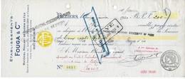 Chèque Etablissements FOUGA Et Cie Matériel Roulant De Chemin De Fer à BEZIERS (HERAULT) 1930 - Transport