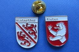 2 Pin's, Ville,Village,WINTERTHUR,KLOTEN, Blason, Suisse, Wappen,lion - Villes