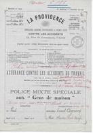"""Police Assurance """"La PROVIDENCE"""" Police Mixte Spéciale Aux """"Gens De Maison"""" De 1910 Signée Par Ernest COGNACQ - Bank & Insurance"""