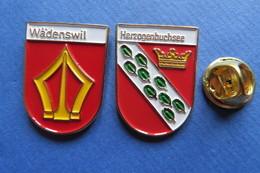 2 Pin's, Ville,Village, WÄDENSWIL,HERZOGENBUCHSEE, Blason, Suisse, Wappen - Cities