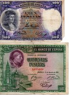 Espagne 2 Billets 100 Pesetas ( Avril 1931 ) Et 500 Pesetas ( Aout 1928 )rare - [ 1] …-1931 : Prime Banconote (Banco De España)