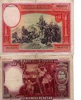 Espagne 2 Billets 500 Pesetas (  1935) Et ( 1931 ) - [ 2] 1931-1936 : Republiek