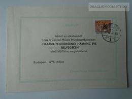 D161773   Commemorative - Hungary - Budapest CSEPEL  Művek Munkásotthonában  Kiállítás 1975 - Feuillets Souvenir