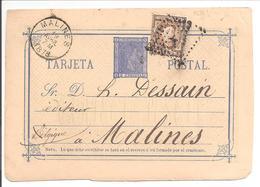 T.P. Impreso Al Dorso.Barcelona>Belgique 1878 - 1850-1931