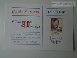 D161787   Commemorative - Hungary -HÁMÁN KATÓ Úttörő Csapat Hatvan  -1974  Pioneer - Feuillets Souvenir