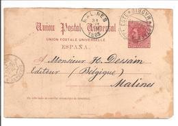 T.P. Madrid>Belgique Estafeta 28.6.85 - 1850-1931