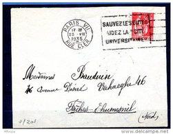 """Lil3451 PARIS VII RUE CLERC FLIER A07201 Sauvez Les Elites Aidez La """"cité"""" Universitaire /Lettre 23/07/35 - Marcophilie (Lettres)"""