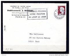 Lil3523 PARIS XI R. MERCOEUR (11è) SECAP A11311 Cheques Postaux Votre Position Au Jour Le Jour =o/Lettre 04/04/61 - Marcophilie (Lettres)
