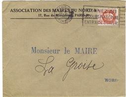 ENVELOPPE  A EN-TETE ASSOCIATION DES MAIRES DU NORD PARIS - 1921-1960: Période Moderne