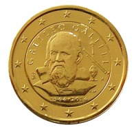 ITALIE 2014 - 2 EUROS COMMEMORATIVE - GALILEE - PLAQUE OR - Italie