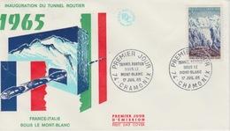18/11/261  ENVELOPPE 1 Er JOUR - INAUGURATION  DU  TUNNEL  ROUTIER  FRANCE - ITALIE Sous Le Mt. Blanc - Otros