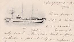 """BATEAUX DE GUERRE - CANONNIERE """"ZELEE"""" COULEE LE 20/09/1914 A PAPEETE/ DEPART MAZARGUES 1904 - Warships"""