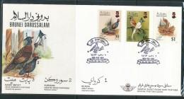 BRUNEI  Mi.Nr.  459-461 Vögel  - FDC - Brunei (1984-...)