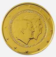 PAYS BAS 2014 - 2 EUROS COMMEMORATIVE - DOUBLE PORTRAIT -  PLAQUE OR - Pays-Bas