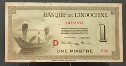 Indochina Indochine Viet Nam Vietnam Laos Cambodia 1 Piastre Banknote 1945 / 2 Photo - Vietnam