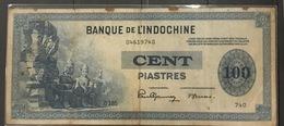 Indochine Indochina Vietnam Viet Nam VF 100 Piastres Banknote 1941 - Pick#78 / 02 Images - Vietnam