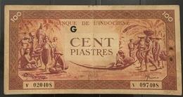 Indochine Indochina Vietnam Viet Nam Laos Cambodia VF 100 Piastres Banknote 1942-45 / P#66 / 02 Photo - Vietnam