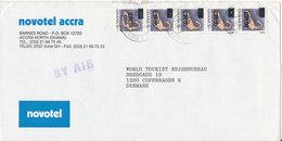 Ghana Cover Sent To Denmark 1990 Overprinted Stamps - Ghana (1957-...)