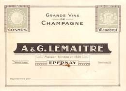 PIE-Arg-18-6859 : EPERNAY. CARTON PUBLICITAIRE  GRANDS VINS DE CHAMPAGNE  A & G LEMAITRE. - Epernay