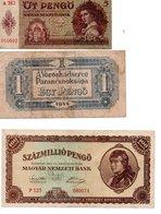 HONGRIE : OT PENGO 1939 , EGY PENGO 1944 , SZAZMILLIOPENGO 1946 - Hongrie
