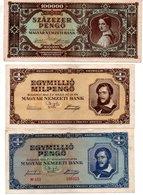 SZAZEZER PENGO 1945 ( Bon état ),EGYMILLIO MILPENGO  1946 ( Bon état ) , EGYMILLIO PENGO 1945 (pli Au Centre ) - Hongrie
