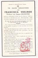 DP Francisca Verlinde ° Sint-Eloois-Winkel Ledegem † Sente Sint-Katharina / Lendelede Kuurne Heule 1938 X A. DeKeister - Devotion Images