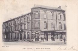 Chatelineau Place De La Station Circulée En 1909 - Châtelet