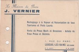Carte Commerciale / J. VERNIER / La Maison Du Pneu / 1 Rue Du Parc / 70 Luxeuil Les Bians - Maps