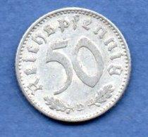 Allemagne -  50 Reichspfennig  1935 D  -  Km #  87-    état  TB+  -- - [ 4] 1933-1945 : Troisième Reich