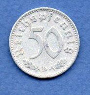 Allemagne -  50 Reichspfennig  1935 D  -  Km #  87-    état  TB+  -- - [ 4] 1933-1945 : Third Reich