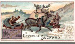 CHROMO  CHOCOLAT SUCHARD  RENNE TIRANT LE TRAINEAU CHEZ LES INUITS - Suchard