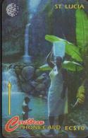 SAINTE LUCIE 22CSLC CARAÏBES EC$10  FAMILLE DEVANT LA CASCADE - Saint Lucia