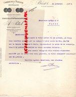 29 - BREST - RARE LETTRE CORDERIE DE LA MADELEINE A MORLAIX- AGENCE CGT-COMPAGNIE GENERALE TRANSATLANTIQUE-1926 - Petits Métiers