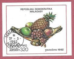 MADAGASCAR USATO - 1992 - FOGLIETTO - Frutti - 1.600 Fmg - M. MG BL189 - Madagascar (1960-...)