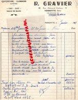 93- PIERREFITTE - RARE FACTURE R. GRAVIER-COUVREUR PLOMBIER-PLOMBERIE-FUMISTERIE-15 RUE EDOUARD VAILLANT-1955 - Petits Métiers