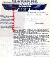 75- PARIS-78-VERSAILLES-RARE LETTRE THE OVERHEAD DOOR-CORPORATION OF EUROPE OVERSEAS-MAGIC-LA PORTE AILEE-1931 - Petits Métiers