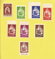 Provins  77 France Vignette érinophilie  De 7 Couleurs Dentelées Sur Le Festival De Provins 03 07 1960 + 1 Du 18 06 1961 - Tourism (Labels)