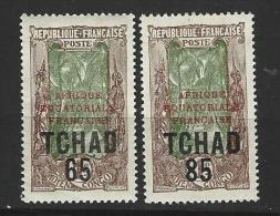 "Tchad YT 45 & 46 "" Surchargé "" 1925 Neuf** - Tschad (1922-1936)"