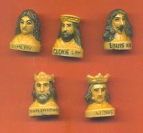 Serie Complète De 5 Feves Les Rois De France Buste Couleur 1995 - Characters