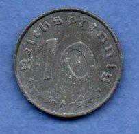 Allemagne -  10 Reichspfennig  1943 A -  Km #  101-    état  TB  -- - [ 4] 1933-1945 : Troisième Reich