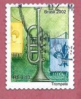 BRASILE USATO - 2002 - STRUMENTI MUSICALI - Trumpet Tromba - 0,10 R$ - M. BR 3249BB - Brasile