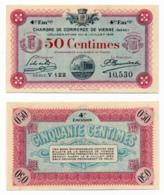 1914-1918 // C.D.C. // VIENNE // 8 Juillet 1918 // Cinquante Centimes // Sans Filigrane - Chambre De Commerce