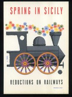 SICILIA -SPRING IN SICILY - REDUCTIONS ON RAILWAYS - Dis. L. TEZZA - Pubblicitari