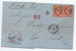 1862 - LETTRE De LE HAVRE BUREAU MARITIME (SEINE MARITIME) Pour NEW YORK Avec 2x N° 16 - GC 1769 - Storia Postale