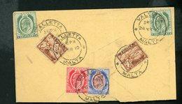 MALTE (GB) : - EDOUARD VII - N° Yvert 29 + 26 (2X) + 34 + 25 (2X) Obli. SUR FRAGMENT DE LETTRE DE VALLETTA DE 1910 - Malte (...-1964)